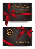 Elegante einladungskarten mit roten bogen — Stockvektor