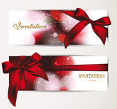 Beautiful holiday banners with copy space and red ribbon — Stok Vektör