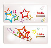 Holiday abstract banners with colorful stars — Stock Vector