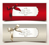 Fabric textile gift cards with silk bows — Vector de stock