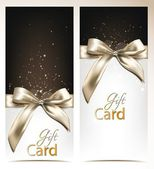 Elegant vector holiday banners with silk bows — Stok Vektör