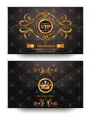 Elegant invitation VIP envelope with gold design elements — Stok Vektör