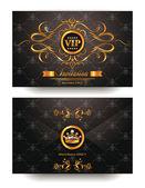 şık bir davetiye vip zarf altın çiçek tasarım elemanları ile — Stockvector