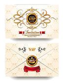 Elegant invitation VIP envelope with gold floral design elements — Stock Vector