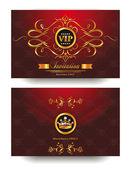 Busta di elegante rosso invito vip con elementi di design oro — Vettoriale Stock