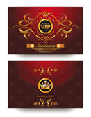 Elegant red invitation VIP envelope with gold design elements — Stok Vektör