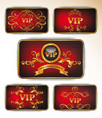 Vector gold vip cards with floral ornament on the red background — Stock Vector