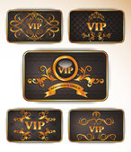 Vector gold vip cards with floral ornament — Stock Vector