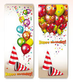 Birthday holiday banners with colorful balloons and decoration — Vector de stock