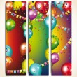 Holiday banners with colorful balloons and garlands — Stok Vektör