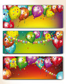 Holiday banners with colorful balloons and garland — Stock Vector
