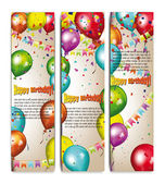 Holiday banners with colorful air balloons — Stock Vector