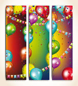 Holiday banners with colorful balloons and garlands — Stock Vector