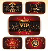 RED ELEGANT VECTOR VIP GOLD CARDS — Stock Vector