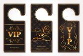Set of VIP gold vector door tags — Stock Vector