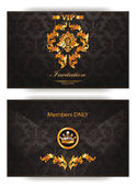 Elegant vintage gold vip invitation envelope — Stock Vector