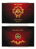 Elegant vintage red gold vip invitation envelope — Vector de stock