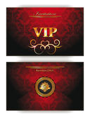 Elegant invitation VIP red envelope with gold design elements — Stock Vector