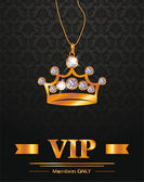 VIP background with gold crown shaped pendant — Stock Vector
