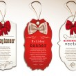 图库矢量图片: Set of vintage tags with silk bows