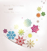 Holiday abstract background with colorful snowflakes — Stock Vector