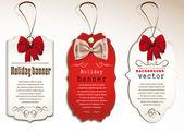 Conjunto de etiquetas vintage con arcos de la seda — Vector de stock