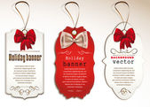 Set di tag vintage con fiocchi di seta — Vettoriale Stock
