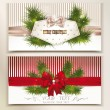 Set of elegant christmas cards with christmas-tree branches and silk bows — Vettoriali Stock