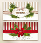 Set of elegant christmas cards with christmas-tree branches and silk bows — Vecteur