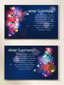 Holiday abstract banners with colorful garland and place for text — Stock Vector
