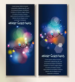 Holiday abstract banners with colorful garland on the dark background — Stock Vector