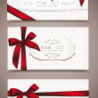 Stock Vector: Set of elegant white greeting cards with red ribbons