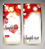 Holiday red banners with hearts — Vetorial Stock