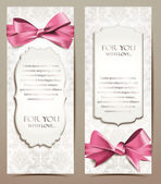 Gift cards with rose ribbons — Vector de stock