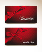 Beautiful gift cards with red ribbons — Stock Vector