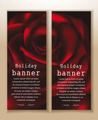 Beautiful banners with red rose on the backgound — Stock Vector