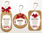 Discount tags with red ribbons. Vector illustration — Stock Vector