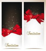 Elegant vector holiday banners with silk bows — Stock Vector