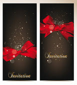 Elegant vector holiday banners with silk red bows — Stock Vector