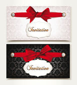Elegant vintage invitation cards with red silk bows — ストックベクタ