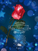 Valentine's Day greeting card with red rose on the blue background — Stock Vector