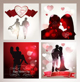 Set of cards with silhouettes of lovers — Stock Vector