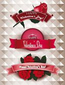 Set of ribbons Happy Valentine's Day with flowers — 图库矢量图片