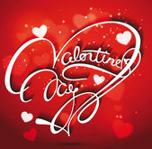 Valentine's Day lettering red Greeting Card, vector illustration — Stock Vector