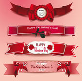 Set of ribbons Happy Valentine's Day with rose flowers — Vettoriale Stock