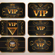 Stock Vector: Elegant gold VIP cards