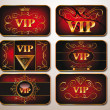 Elegant gold VIP cards on the red background — Stock Vector #39321705