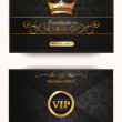 Stock Vector: Elegant vintage vip invitation envelope with gold floral elements