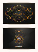 Elegant vintage gold vip invitation envelope with crown — Stock Vector