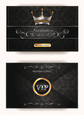 Elegant vintage vip invitation envelope with gold and platinum floral elements — Stok Vektör